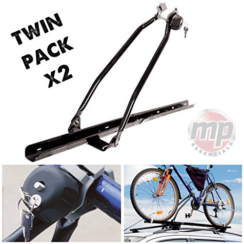 MP Essential 2 x Car Roof Mounted Upright Cycle Bike Travel Rack Holder Carrier - Transport 2 Bikes - 15kg each - Shoppersbase