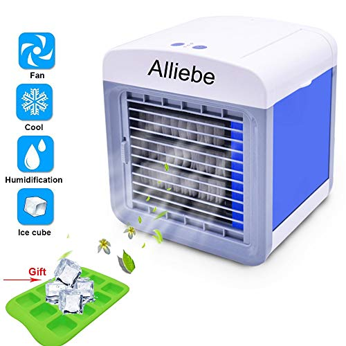 Alliebe Personal Air Cooler 6.5-inch Portable Air Conditioner Fan Small Space Cooler Personal USB Desktop Fan Compact Evaporative Cooler Air Humidifier - Shoppersbase