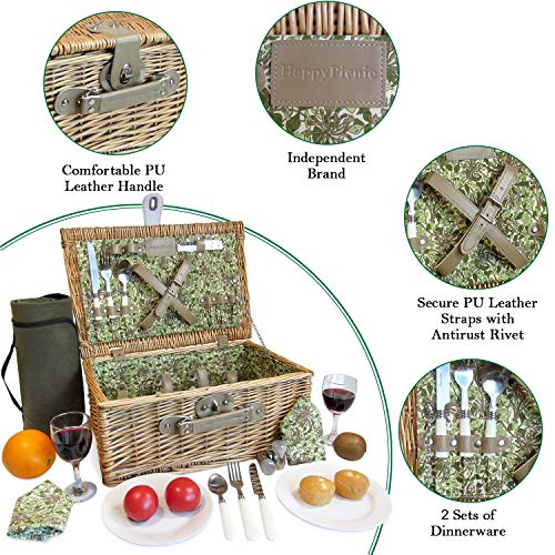 2P Willow Picnic Basket Set with Floral Lining, Picnic Hamper with Picnic Blanket, Wine Glasses, Ceramic Plates, Flatware & Napkins, for Birthday, Wedding, Anniversary and Festivals - Shoppersbase