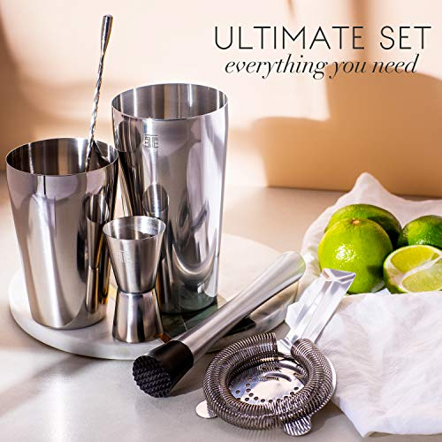 Twice Element® Cocktail Mixing Set | Boston Style Shaker Kit with: Elegant Gift Box (Black), Storage Pouch, Recipe Book and All Essential Drink Accessories | Great Gift for him (Black) - Shoppersbase
