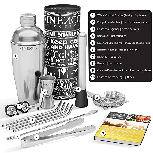 Cocktail Shakers Set + Recipes eBook - Premium Stainless Steel Bar Kit: Strainer, Double Jigger, Mixing Spoon | Pro Bartender Making Drinks - Mojito Martini Gin Tonic Maker | Party Gift Box, Women Men - Shoppersbase