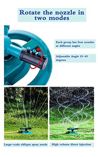 WISDOMWELL Wisdom Garden Sprinkler Automatic Lawn Water Sprinkler 360 Degree 3 Arm Rotating Sprinkler System for Watering Your Lawn Plants Flowers Veggies and More (1Sprinkler and double-pass) - Shoppersbase