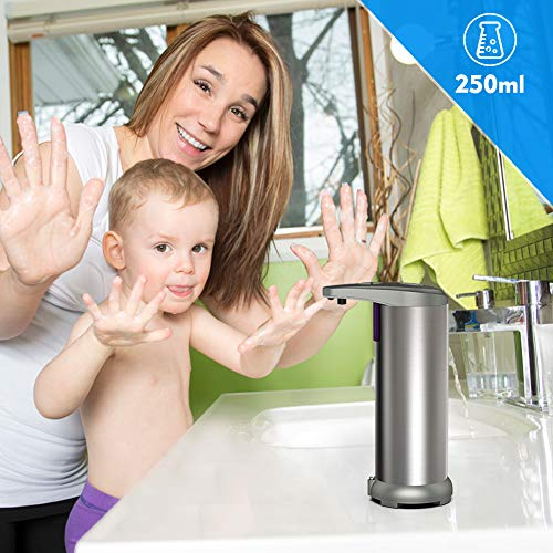 Hanamichi Automatic Soap Dispenser in Stainless Steel, Infrared Motion Sensor, Waterproof Base, Adjustable Switch, Suitable for Bathroom, Kitchen, Hotel, Restaurant - Shoppersbase