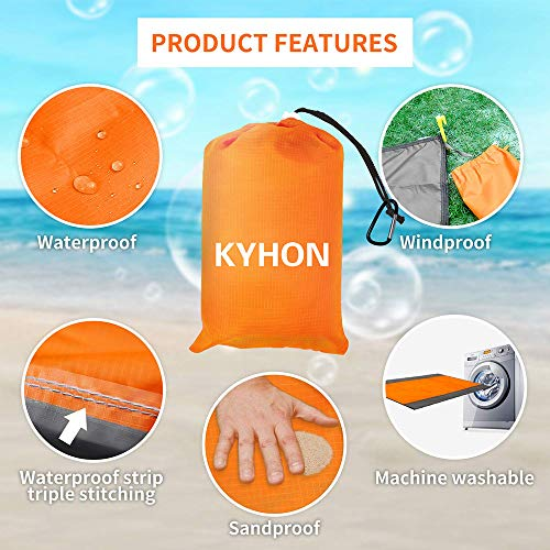 Kyhon Outdoor Beach Mat Picnic Blanket,Extra Large 210 x 200cm Waterproof Portable Picnic Beach blanket,Sandproof with 4 Fixed Nails,Reinforced Edging for Beach,Park,Camping,Hiking & Family(Orange) - Shoppersbase