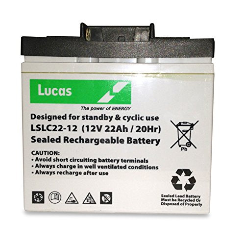 Lucas 22AH -12V AGM/GEL GOLF TROLLEY BATTERY (18+ Holes) with T-BAR POWAKADDY - Shoppersbase