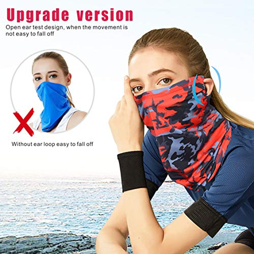 Idefair Face Mask Neck Gaiter,Sun UV Protection Fishing Mask Unisex Cycling Mask Windproof Scarf Sunscreen Breathable Bandana Neck Tube for Cycling Hiking Motorbikes Running - Shoppersbase