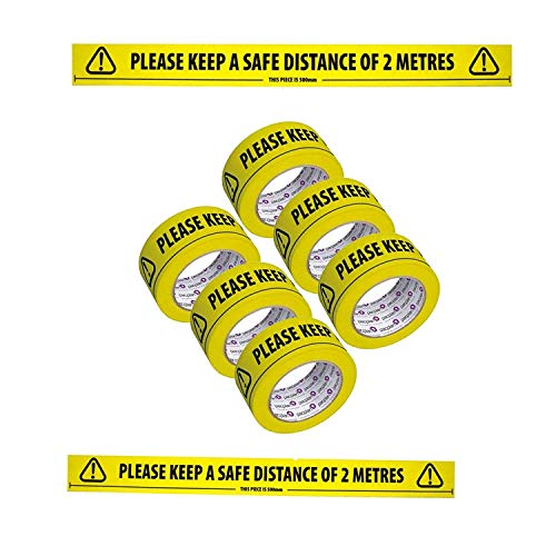 Social Distancing Floor tape Free Safety approved face covering Strong Vinyl Yellow 2 metre distance - Shoppersbase