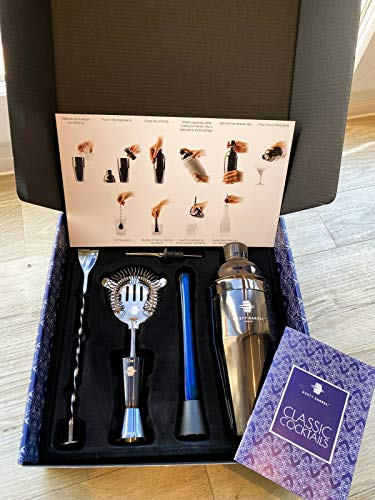 New York Manhattan Blue/Black Cocktail Making Set - Large Manhattan Style Stainless Steel Shaker, Muddler, Strainer, Bar Measure, Pourer, Spoon & Recipe Booklet | Presented in a Gift Box - Shoppersbase