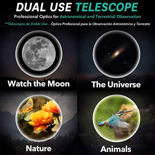 Astronomical Telescope - Portable and Powerful 16x-120x Travel Scope - Easy to Mount and Use - Ideal for Kids and Beginner Adults - Includes Manual, Phone Adapter, Case, Tripod, 2 Eyepieces, 3x Lens… - Shoppersbase