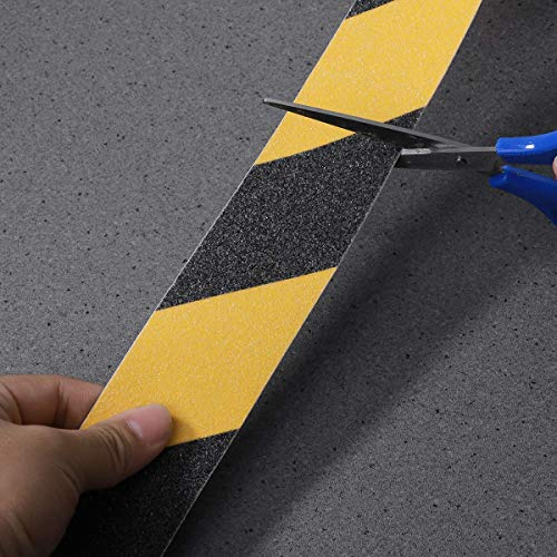 UEETEK Black and Yellow Anti-Slip Safety Tape High Traction Safe Abrasive Grit Grip 2 inches by 16.4ft for Indoor and Outdoor - Shoppersbase