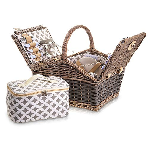 4 Person Grey Willow Wicker Picnic Hamper Basket 29 Piece Set Cloth Lined with Ceramic Plates Steel Cutlery Plastic Glasses and Cotton Napkins Cool Bag Blanket Cloth Lining (Round Handle) - Shoppersbase