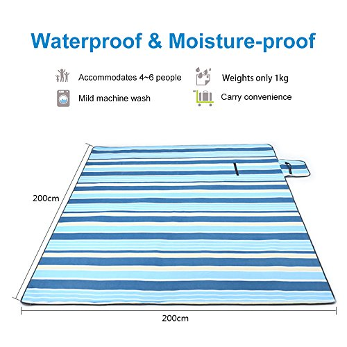 Picnic Blanket 200x200cm, Sylanda XXL Outdoor Beach Blanket Extra Large Picnic Mat Fleece Thermo Insulated Waterproof Outdoor Mat with Handle - Shoppersbase