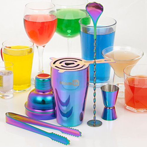 Homiu Cocktail Set Rainbow 5 Piece Includes Iridescent Stainless Steel 550 Millilitres Cocktail Shaker 15/30 Millilitres Jigger Strainer Ice Tong and Bar Spoon (Cocktail Set) - Shoppersbase