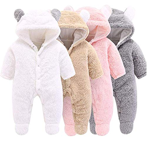 Baby Rompers Newborn Girls Boys Animals Zipper Hooded Jumpsuit Autumn Winter Flannel Clothing Unisex (0-6 Months, Bear #2 Brown) - Shoppersbase
