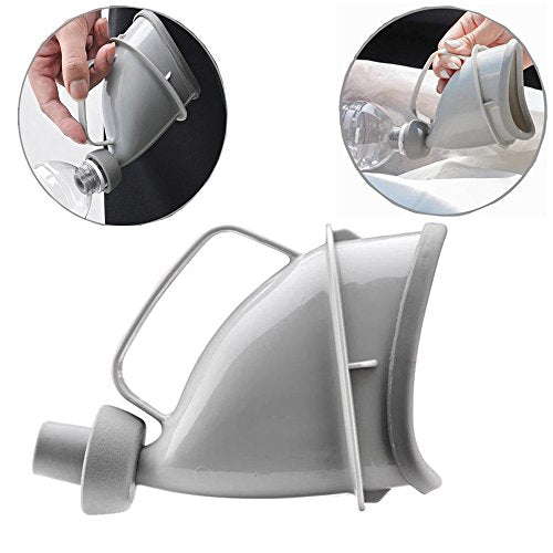 YUMSUM Female Women Male Urinal Unisex Urination Device,Reusable Portable Funnel Travel Toliet Pee Bottle for Outdoor Camping Emergency Sit or Standing (Grey) - Shoppersbase