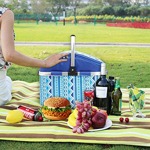 Folding Picnic Basket, SZSMD Waterproof Thermal 26L Insulated Cooler Basket Hamper, Portable Cooler Bag with Aluminum Handle Keeps Food Hot/Gold for Shopping, Beach, Picnic, Camping, BBQ - Shoppersbase