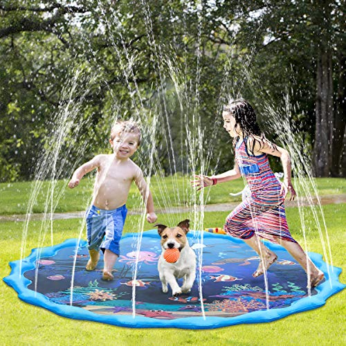 Splash Play Mat,Sprinkle and Splash Water Play Mat Play Mat Party Sprikler Splash Pad Summer Spray Toys for Kids and Outdoor Garden Family Activities - Shoppersbase