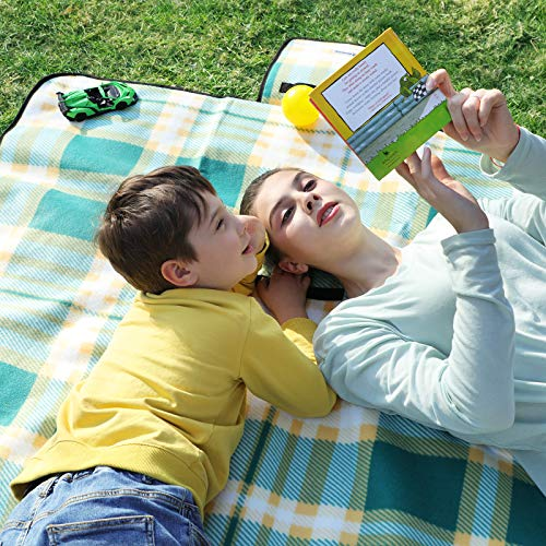 SONGMICS Picnic Blanket, 195 x 200 cm, Large Camping Mat and Rug for Outdoors, Beach, Park, Yard, with Waterproof Backing, Foldable, Green and White GCM61JC - Shoppersbase