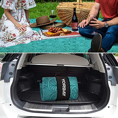 Yorbay Picnic Blanket, 200 x 200 cm Extra Large Fleece Outdoor Beach Mat, Waterproof Backing Anti Sand Reusable - Shoppersbase