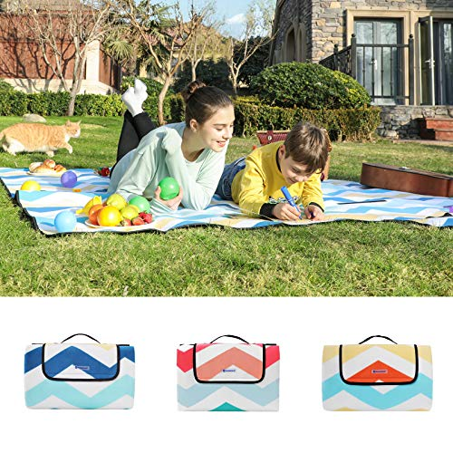 SONGMICS Picnic Blanket, 200 x 200 cm, Large Beach Camping Mat and Rug for Outdoors, Park, Yard, with Waterproof Backing, Foldable, Blue Wave Pattern GCM70YU - Shoppersbase