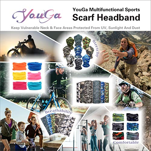 YouGa Multifunctional Headband - 9/12 Elastic Tube Scarf Headwear UV Resistance 3D Magic Mask, Seamless Headbands Bandana, Sports Headwrap Balaclava (ColorfulSpot) - Shoppersbase