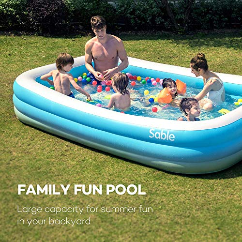 Sable Paddling Pool Rectangular Family Swimming Ball inflatables for Kids and Adults Indoor & Outdoor, Blue & White 300 x 184 x 50cm - Shoppersbase