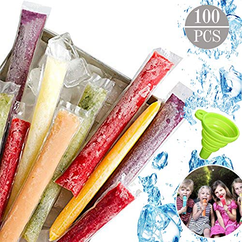 Ice Popsicle Mold Bags BPA Free Freezer Tubes with Zip Seals for Healthy Snacks, DIY Yogurt Sticks, Juice & Fruit Smoothies, 100 Pcs Reusable Ice Pop Pouches with 1 Pcs Funnel - Shoppersbase