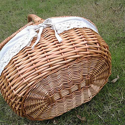 Essenc Handmade Wicker Basket with Handle, Wicker Camping Picnic Basket with Double Lids, Shopping Storage Hamper Basket with Cloth Lining - Shoppersbase