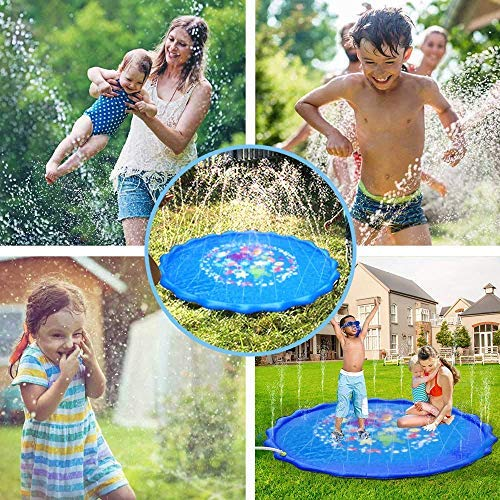 Faburo 170cm Sprinkle and Splash Water Play Mat Set Summer Spray Water Toys - Inflatable Kids Sprinkler Pad Summer for Kids Splash Party Toy Outdoor Family Activities - Shoppersbase