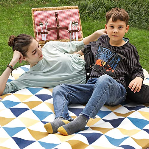 SONGMICS Picnic Blanket, 150 x 200 cm, Outdoor Beach Blanket for Camping, Park, Yard, with Waterproof Backing, Foldable, Yellow Triangle Pattern GCM07S - Shoppersbase