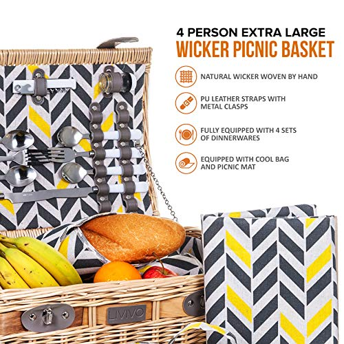 LIVIVO 4 Person Traditional Picnic Wicker Hamper Willow Basket With Cooler Bag Geo XL Extra Large Snack Drink Storage – Includes Ceramic Plates, Glasses, Cutlery, Bottle Opener, Napkins & Blanket Mat - Shoppersbase