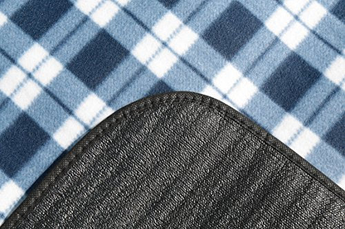 Signature Leisure Blue/White or Red Tartan Check Large 150x180cm Fleece Picnic Blanket with Waterproof Backing - Lightweight Compact Picnic Travel Rug - Child Play Mat (Blue/White) - Shoppersbase