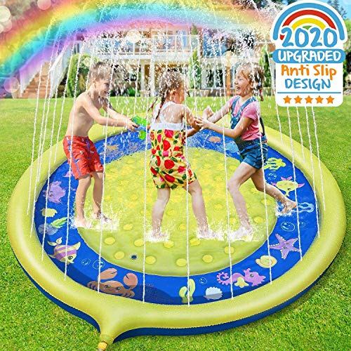 Jojoin Sprinkle and Splash Water Play Mat Non-slip Upgraded, 68 Inches Inflatable Water Sprinkler Pad Portable Wading Pool Summer Durable Spray Toys for Kids and Outdoor Garden Family Activities - Shoppersbase