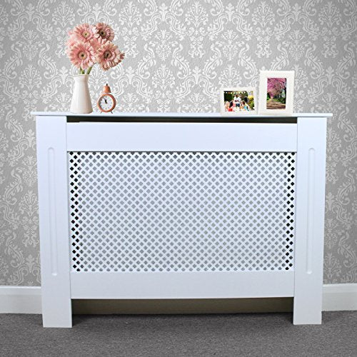 Radiator Cover White Painted MDF Wood Trellised Grill Modern Heating Home Furniture Cabinet Shelf 1115mm - Shoppersbase