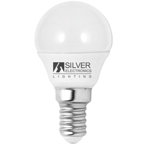 Spherical LED Light Bulb Silver Electronics Eco E14 5W White light - Shoppersbase