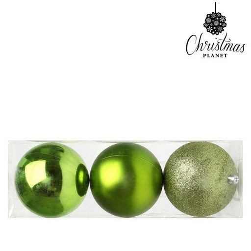 Christmas Baubles Christmas Planet 5276 10 cm (3 uds) Plastic Green - Shoppersbase