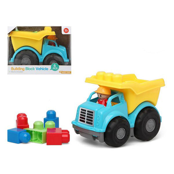 Lorry with Building Blocks 114607 Blue Yellow (6 Pcs) - Shoppersbase