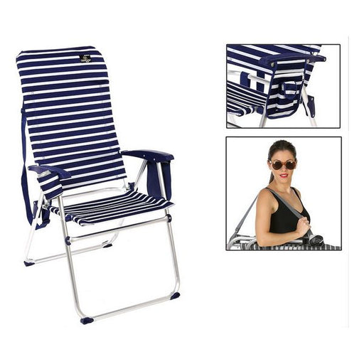 Folding Chair Aluminium Navy blue 114675 - Shoppersbase