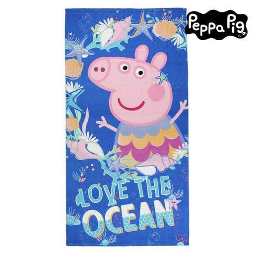 Beach Towel Peppa Pig 75502 Microfibre Navy blue - Shoppersbase