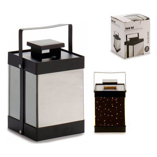 LED Lantern Black Metal Metal Mirror 10 (12,5 x 18,5 x 12,5 cm) - Shoppersbase