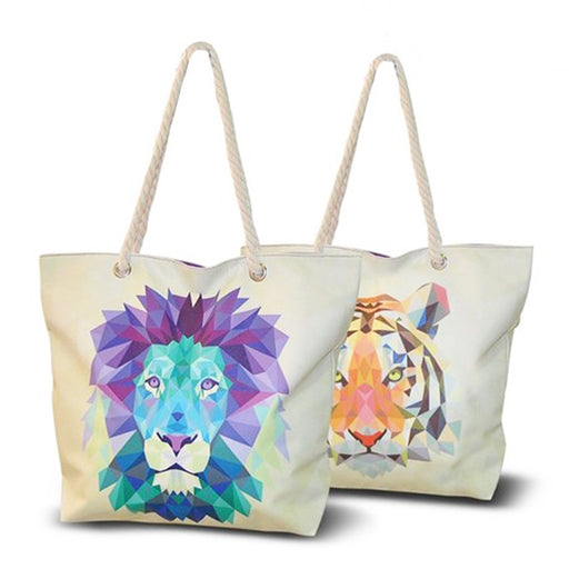 Beach Bag Wild Lion White (33,5 x 43 cm) - Shoppersbase