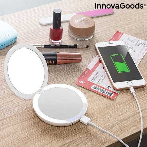3-in-1 Pocket Mirror with LED and Power Bank Mirbat InnovaGoods 3000 mAh - Shoppersbase