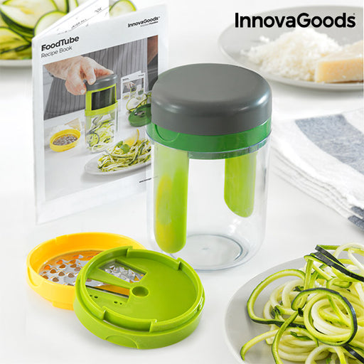 InnovaGoods FoodTube Spiralizer and Grater with Recipe Book - Shoppersbase