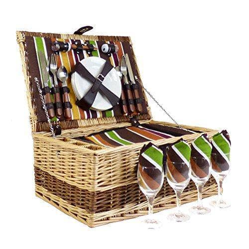 4 Person Buckingham Wicker Picnic Basket Set with 75cl Las Montanas White Wine and Delicious Hamper Food Selection - Gift Ideas for Birthday, Christmas, Anniversary, Thank You, Business, Corporate - Shoppersbase