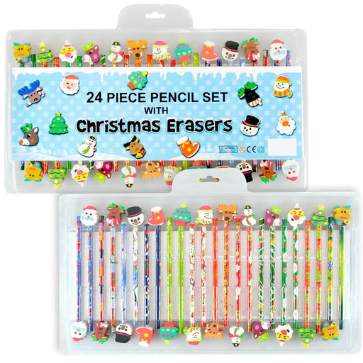 Kids 24 Piece Pencil Set With Christmas Erasers [Toy] - Shoppersbase