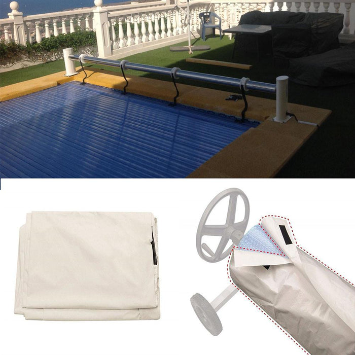Swimming Pool Cover Durable Plastic Solar Blanket Reel Protective Cover Waterproof Sun-screen With Protection - Shoppersbase