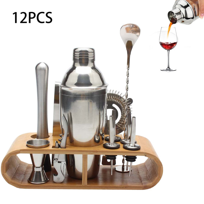 12pcs/8pcs Set Cocktail Shaker Bartender Kit with Stylish Wooden Stand 750ML Professional Stainless Steel for Home Bar Party - Shoppersbase