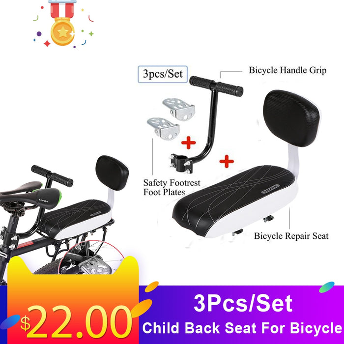 3Pcs/Set Bike Saddle Child Back Seat For Bicycle Safety Rear Seat With Handle Armrest Footrest Pedal - Shoppersbase