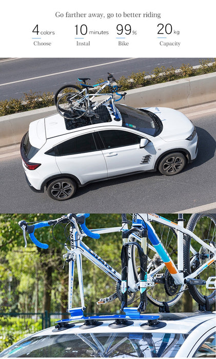 ROCKBROS Bicycle Carrier for Cars Roof-Top Vacuum Suction Bike Car Rack Carrier Quick Installation Sucker Roof Rack - Shoppersbase