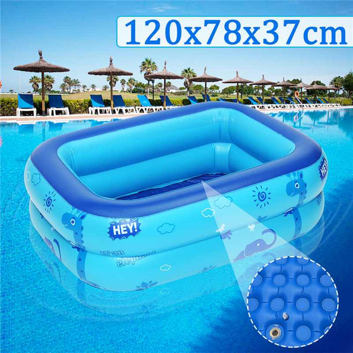 Kids inflatable Pool Large Size Children's Home Use Paddling Pool Inflatable Square Swimming Pool Heat Preservation 120x78x37cm - Shoppersbase